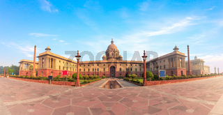 The Rashtrapati Bhavan, the Presidential palace in New Delhi, India, beautiful panorama