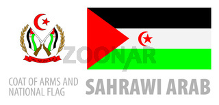 Vector set of the coat of arms and national flag of Sahrawi
