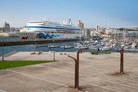 Cruise ship AIDA CARA, A Coruna, Spain
