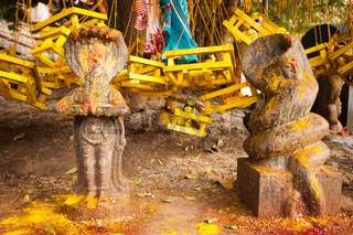 Hindu religious stone Idols in temple. India