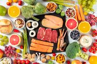 Various food products, shot from the top. Meat, fish, poultry, seafood, cheese, fruit, vegetables, nuts, legumes, mushrooms, a flat lay