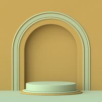 Abstract mock up podium with green arc 3D