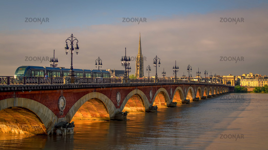 Tram Passing over the Pont de Pierre Spanning the River Garonne in Bordeaux