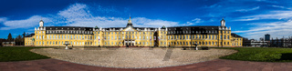 Wide Panorama of Main Entrance of Castle Karlsruhe with Square. In Karlsruhe, Baden-Württemberg, Germany