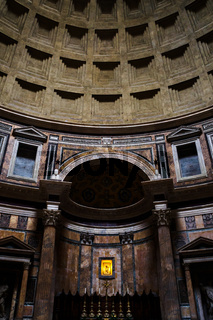 Dome and altar inside the Pantheon in Rome