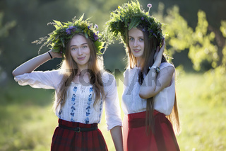 Belarus, the city of Gomel, July 07, 2018. Holiday Ivan Kupala.Slavic girls with a wreath before Kupala