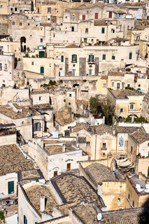Detail der alten Häuser von Matera in der Region Basilikata