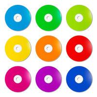 Colorful rainbow CD - DVD range on white background