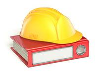 Safety helmet on red file folder 3D