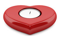 red heart-shaped candlestick with candle isolated