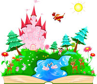 Book with a pink castle and animals