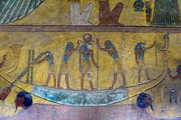 Ancient mural of egyptian boat