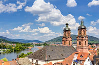Panorama view from Mildenburg to the town of Miltenberg am Main in Lower Franconia, Bavaria