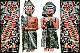 Batak figures women-men Indonesia