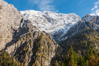 The west face of the Watzmann in Berchtesgarden National Park, view from Wimbachgriestal, October 2020