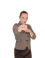 Business woman try to punch with her fists