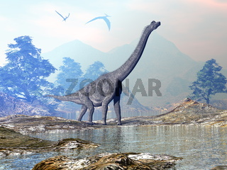 Brachiosaurus dinosaur walking - 3D render