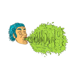 Man Coughing Covid 19 Grime Art