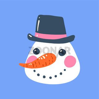 The face of a Christmas snowman with a hat.