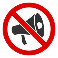 Flat Raster No Megaphone Icon