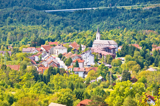 Mountain town of Vrbovsko green landscape view