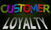 Customer loyalty word composed of multicolored alphabet