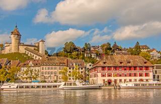 Munot, Güterhof und Schiffslände am Rhein in Schaffhausen, Schweiz