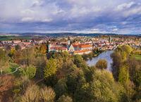 Telc castle in Czech Republic - aerial view