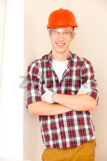 young smiling construction worker