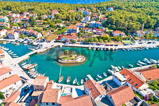 Town of Vrboska small palm island aerial view
