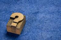question mark vintage letterpress printing block