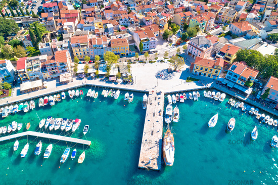 Tourist town of Selce waterfront and colorful architecture aerial view