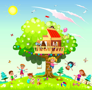 Happy children play near the tree house