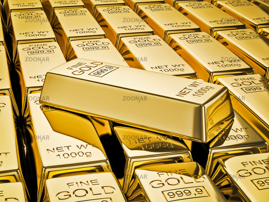 Banking finance concept background - gold bar on stacks of gold bullions close up