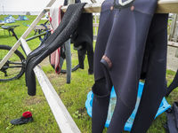 Drying frame for wetsuits with bicycle