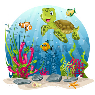 Turtle and fish in the sea