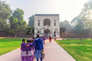 Indian school girls near the Humayun's Tomb entrance, New Delhi, India