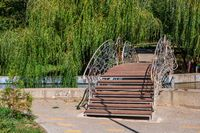 Forged bridge in a city park