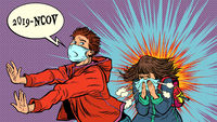 Panic. The young man is afraid of a sneezing sick girl. Novel Wuhan coronavirus 2019-nCoV epidemic outbreak