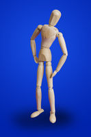 Sports fitness wooden toy figure on blue