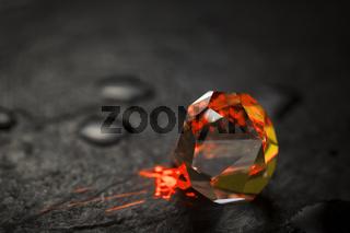Red illuminated crystal
