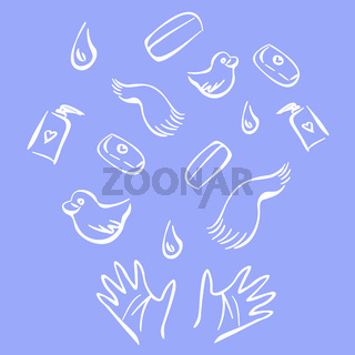 Cute illustration with hands and bath products