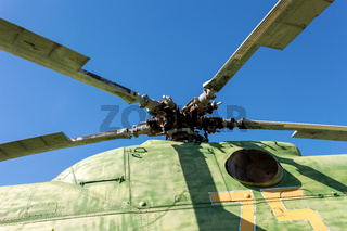 Propeller of helicopter against blue sky