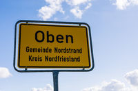 Town sign, Nordstrand, North Frisia, Schleswig-Holstein, Germany