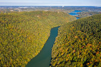 Narrow gorge of the Cheat River looking down towards the lake in West Virginia with fall colors