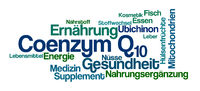 Word Cloud on a white background - Coenzyme Q10 - Coenzym Q10 (German)