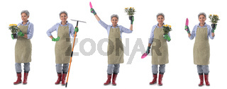 Gardener woman worker isolated on white