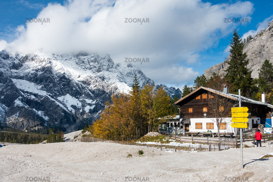 The Wimsbachgrieshuette with a view of the Hochkalter massif, NP Berchtesgarden, Germany