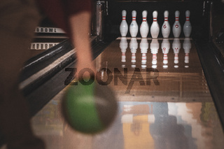 Image of bowling game and the bowling lane