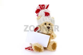 Teddybär mit blanko Karte